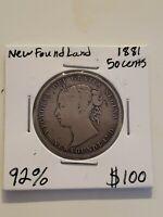 Rare 1881 50 Cents NewFoundLand Km # 6
