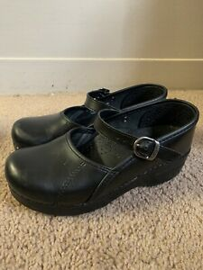 Womens Dansko Black Leather Marcelle Cabrio Nursing Clog Slides Mule 35 US 4.5/5