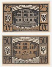 Germania 25 & 50 Pfennig 1921 NOTGELD Eberswalde UNC BANCONOTA Set - 2 PZ