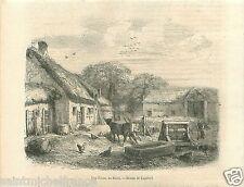 Cour de Ferme Vache Basse-cour du Berry Indre France GRAVURE ANTIQUE PRINT 1859