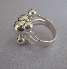 Mexico 925 Silver Taxco Round Shiny Multi BEAD Fashion Modern Big Ring Size 7.5