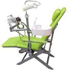 Portable Dental Folding Chair LED Light Turbine Unit Air Water Syringe Green
