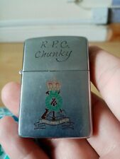 More details for military zippo r. p. c chunky engraved on front vintage fully working