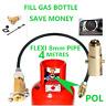 UK MINI M10 LPG Filling Point to Calor Gas Propane Bottle 4 Meters FLEXI pipe