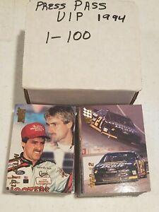 1994 Press Pass VIP Nascar Complete Set 1-100 W/Box Dale Earnhardt Jeff Gordon