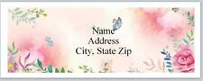 Personalized Address Labels Pink Flowers Butterflies Buy 3 get 1 free (P 415)