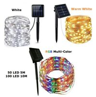 Outdoor Solar Powered 15Ft 33Ft 50 100 LED 5M10M Copper Wire Light String Xmas