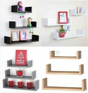 Set of 3 Floating Shelves Wall Mounted Storage Display Shelf Kit Home Decor New
