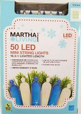NEW 50 LED Light blue Warm White Blue String Lights by Martha Stewart Living