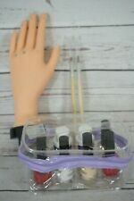 Hand Manicure Mannequin with Loop Soft Hand Fingers Nail Kit + Brushes Flexible