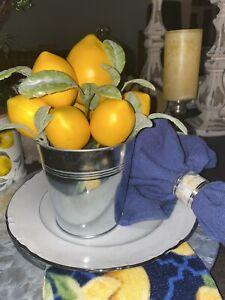 "Lemon Arrangement Tin Spring Summer Realistic For Home Decor Kitchen Table 9"""