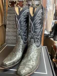 LUCCHESE BOOTS SIZE 10.5D MEN Ostrich Boots Elgin  Genuine Handmade  STYLE N1189