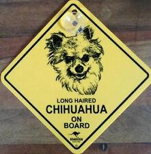 12cm Roadsign Schild mit Saugnapf  LANG Haar CHIHUAHUA  Warnschild Hund