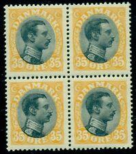 DENMARK #115 (149) 35ore Chr. X, Block of 4, og, NH, VF, Scott $120.00