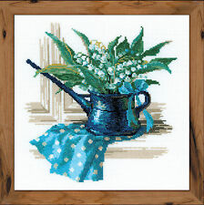 May Morning Watering Can Flowers Premium Counted Cross Stitch Kit Riolis