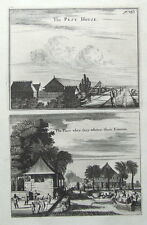 JAKARTA,JAVA,INDONESIA,PEST HOUSE,CHURCHILL'S VOYAGES pair antique prints 1744.