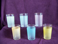 Lot of 6 Blendo satin frosted juice glass tumblers white orange pink blue green