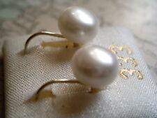 Perlenohrhänger kurz Gold 585, Ohrringe Gold 585 China Zuchtperle flach 8,5 mm