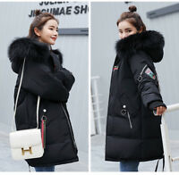 Womens Winter Fur Collar Hooded Coat Thick Long Down Cotton Parka Warm Jacket