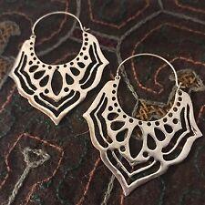Silver Plated Lotus Flower Petal Cut-Out Boho Earrings