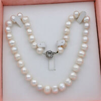 12-13mm white Pearl Necklace earrings Set +Jewelry Box Cultured Aurora Flawless