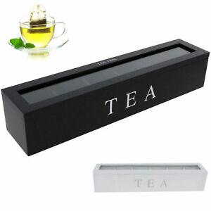 Teebox mit Fenster 6 Fächer Teekiste Teedose Kaffeepads Teebehälter Ordnung