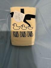 "Nwt Rae Dunn Set of 2 Yellow ""Rub Dub Dub� Bath Hand Towels ~Yellow Rubber Ducky"