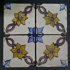 Set of 4 Antique Portuguese Tiles - Floral