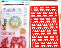 Adventure Recollections Color Splash Clear Acrylic Stamp & Stencil Set NEW!