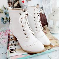 Gr.32-48 Braun Schnürung Blockabsatz Damen Schuhe Britischer Stil Ankle Boots