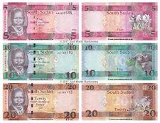 South Sudan 5 + 10 + 20 Pounds 2015 Set of 3 Banknotes 3 PCS UNC