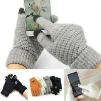 New Women Wool Knitted Gloves Full Finger Warm Mittens Touch Screen Solid Color