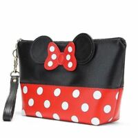 MINNIE MICKEY MOUSE Polka Dot Travel Cosmetic Bag Case Pouch Clutch Bag Handbag