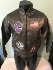 Vtg Military Satin Bomber Jacket with 6 Patches Youth size XL Made in USA