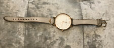 'Olivia Burton' Off White Leather Strap Gold Dial White Face Watch
