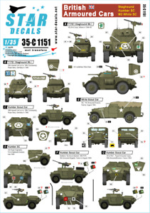 Star Decals, 35-C1151  Staghound, Humber SC and White Scout Car. , SCALE 1/35