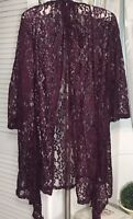 NEW Plus Size 2X Burgundy Red Wine Lace Open Kimono Jacket Topper DT