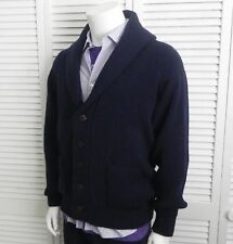 NEW Mens SIZE 2XL XXL ALPACA Navy Blue Ribbed Shawl Collar Cardigan Sweater PERU