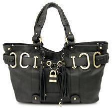 NEU: BOVARI Black Padlock Shopper echt Leder Damen Handtasche schwarz Ltd. Ed.