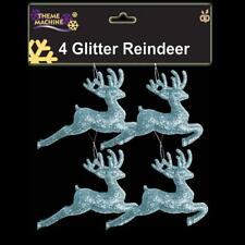 Christmas Tree Decoration 4 Pack Glitter Reindeer's (DP) - Ice Blue