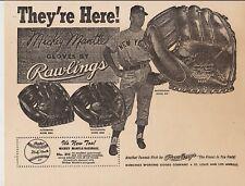"Mickey Mantle 8-1/2"" x 11"" Rawlings Baseball Glove Ad"