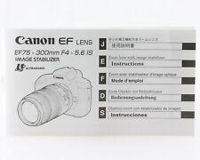 Manual de instrucciones Canon EF lens ef75-300mm f4-5, 6 4-5,6 is is instrucciones