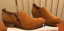 NWT Women's SONOMA Maureen Cognac Tan Suede low collar Ankle Boots size 8.5