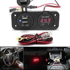 12V Car Cigarette Lighter Power Socket Voltmeter Adapter 2 Port USB Charger 2in1