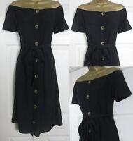 NEW Next Bardot Off Shoulder Beach Holiday Dress Cotton Linen Blend Black 6-22