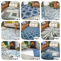 Rugs with Navy Blue for Living Area Hallway Runner Sky Blue Most Popular Rugs UK