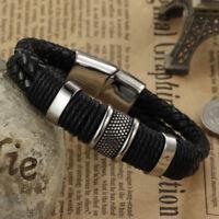 Stainless Steel Magnetic Buckle Bangle Men's Leather Bracelet Black Popular 1pc