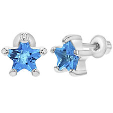 Rhodium Plated March Blue Crystal Star Screw Back Earrings for Girls