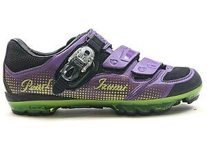 Pearl Izumi Womens Carbon X-Project 3.0 Purple & Lime MTB Bike Shoes Sz 9.5