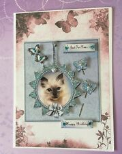 "Birthday Handmade 3D card  ""Cat on Blue with butterflies"""